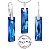 SILVEGO stшнbrnэ set љperkщ se Swarovski® Crystals Queen Baguette Bermuda Blue