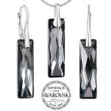 SILVEGO st��brn� set �perk� se Swarovski(R) Crystals Queen Baguette Night