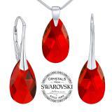 Silvego st��brn� set se Swarovski(R) Crystals kapka �erven�