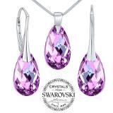 SILVEGO stшнbrnэ set se Swarovski® Crystals kapka Vitrail Light