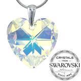 SILVEGO St��brn� p��v�sek srdce 28mm - AB se Swarovski(R) Crystals
