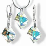 SILVEGO stшнbrnэ set Cosmic AB se Swarovski(R) Crystals