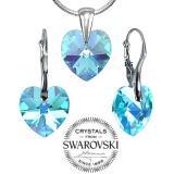 SILVEGO st��brn� set Modr� Srdce 14mm se Swarovski® Crystals