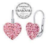 SILVEGO stшнbrnй nбuљnice srdce rщћovй se Swarovski(R) krystaly