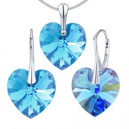 SILVEGO støíbrný set Srdce Aquamarine se Swarovski® Crystals