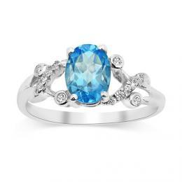 Gio Caratti stшнbrnэ prsten s pravэm Topazem