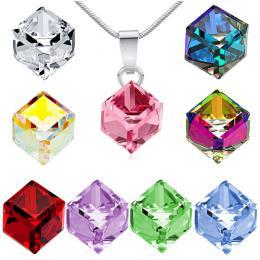 Silvego st��brn� p��v�sek se Swarovski(R) Crystals CUBE 8 mm