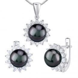 Støíbrné šperky s pøírodní perlou v èerné barvì Tahiti - náušnice a pøívìsek