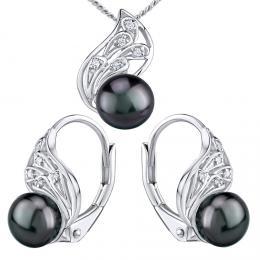 Støíbrný set šperkù GENEVIE s pøírodní perlou v barvì èerná Tahiti - náušnice a pøívìsek - zvìtšit obrázek