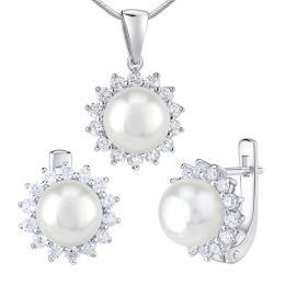 Støíbrné šperky s pøírodní bílou perlou - náušnice a pøívìsek