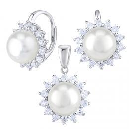 Støíbrné šperky s pøírodní perlou v bílé barvì - náušnice a pøívìsek