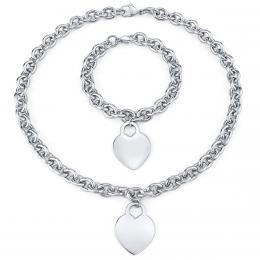 Set šperkù pro ženy z chirurgické oceli náhrdelník a náramek s pøívìskem srdce