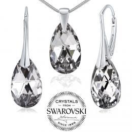 SILVEGO st��brn� set se Swarovski(R) Crystals kapka Argent