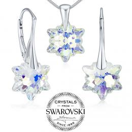 SILVEGO st��brn� set �perk� se Swarovski® Crystals Edelweiss