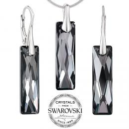 SILVEGO stшнbrnэ set љperkщ se Swarovski® Crystals Queen Baguette Night