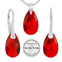 SILVEGO st��brn� set se Swarovski(R) Crystals kapka �erven� - zv�t�it obr�zek