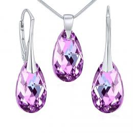 SILVEGO støíbrný set se Swarovski® Crystals kapka Vitrail Light
