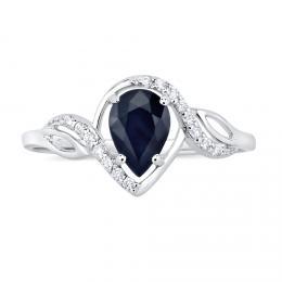 Støíbrný prsten AYNE s pravým Safírem