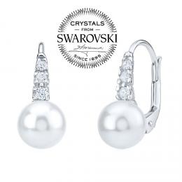 SILVEGO stшнbrnй nбuљnice s bнlou perlou Swarovski(R) 8 mm