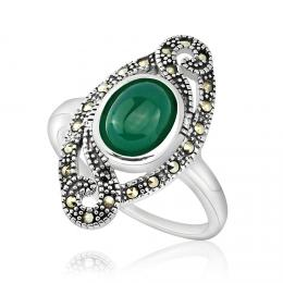 St��brn� prsten s ach�tem a markazitem VIVIANA