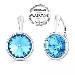 SILVEGO stшнbrnй nбuљnice se Swarovski(R) Crystals aquamarine 12mm
