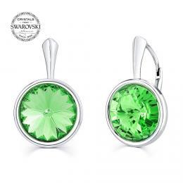 SILVEGO støíbrné náušnice se Swarovski® Crystals zeleným rivoli 12mm