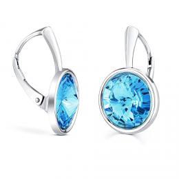SILVEGO støíbrné náušnice se Swarovski® Crystals aquamarine 12mm