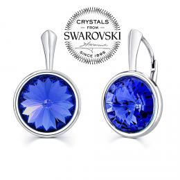 SILVEGO stшнbrnй nбuљnice se Swarovski(R) Crystals rivoli 12mm - modrй