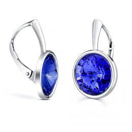 SILVEGO støíbrné náušnice modré se Swarovski® Crystals rivoli 12mm - zvìtšit obrázek
