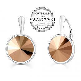 SILVEGO stшнbrnй nбuљnice se Swarovski(R) Crystals rivoli 12mm bronze