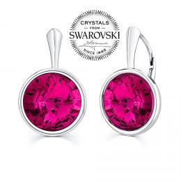 SILVEGO stшнbrnй nбuљnice se Swarovski(R) Crystals fuchsia 12mm