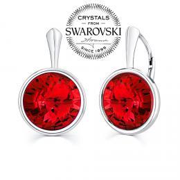 SILVEGO st��brn� n�u�nice se Swarovski(R) Crystals rivoli 12mm �erven�