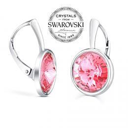 SILVEGO stшнbrnй nбuљnice se Swarovski(R) Crystals rivoli 12mm rщћovй