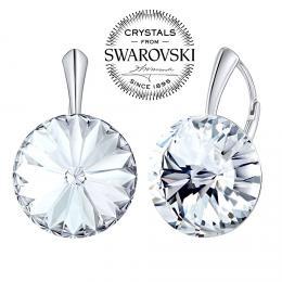 SILVEGO st��brn� n�u�nice se Swarovski(R) Crystals 18 mm rivoli �ir�