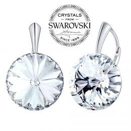 SILVEGO stшнbrnй nбuљnice se Swarovski(R) Crystals 18 mm rivoli иirй