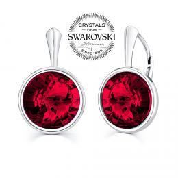 SILVEGO st��brn� n�u�nice se Swarovski(R) Crystals 12mm tmav� �erven�