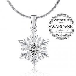 SILVEGO st��brn� p��v�sek sn�hov� vlo�ka se Swarovski(R) Crystals
