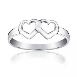Stшнbrnэ prsten dvojitй srdce