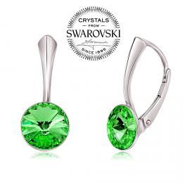 SILVEGO st��brn� n�u�nice se Swarovski(R) Crystals rivoli zelen� 8mm
