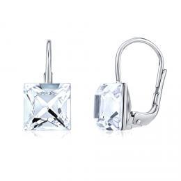 SILVEGO støíbrné náušnice se Swarovski® Crystals 8 mm èiré