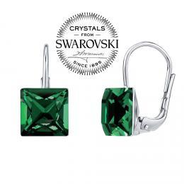 SILVEGO stшнbrnй nбuљnice se Swarovski(R) Crystals 8 mm tmavм zelenй