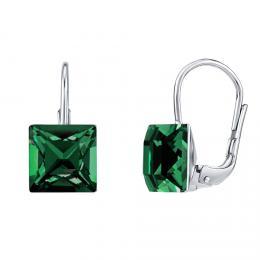 SILVEGO støíbrné náušnice se Swarovski® Crystals 8 mm tmavì zelené