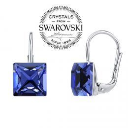 SILVEGO stшнbrnй nбuљnice se Swarovski(R) Crystals 8 mm safнr