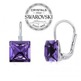 SILVEGO stшнbrnй nбuљnice se Swarovski® Crystals 8 mm fialovй