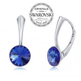 SILVEGO stшнbrnй nбuљnice se Swarovski(R) Crystals 8 mm rivoli modrй