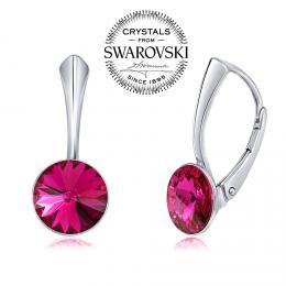 SILVEGO stшнbrnй nбuљnice se Swarovski(R) Crystals rivoli fuchsie 8mm
