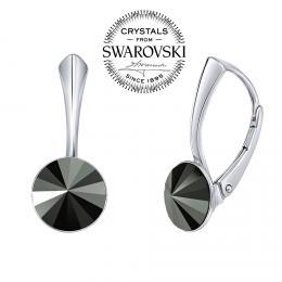 SILVEGO stшнbrnй nбuљnice se Swarovski(R) Crystals rivoli hematit 8mm