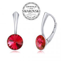SILVEGO st��brn� n�u�nice se Swarovski(R) Crystals 8 mm rivoli �erven�