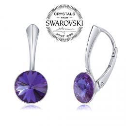 SILVEGO st��brn� n�u�nice se Swarovski(R) Crystals rivoli tanzanit 8mm