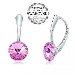 SILVEGO stшнbrnй nбuљnice se Swarovski(R) Crystals rivoli fialovй 8mm